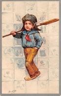 Illustration - Garçon Avec Pagaie Et Une Pipe - Fumeur Tabac Marin - Enfants