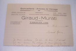 VARAGES     -  GIRAUD - MURATI  - Quincaillerie - Articles De Ménage  - ( Année 1944 ) - Perfumería & Droguería