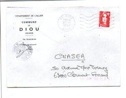 LETTRE DE MAIRIE DE DIOU ALLIER - Postmark Collection (Covers)