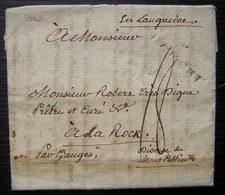1785 Marque Blamont Sur Lettre De Badouvillers (Meurthe Et Moselle, Lorraine), à Un Prêtre Du Diocèse De Montpellier - Marcophilie (Lettres)
