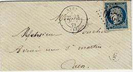 1871- Enveloppe De RYES ( Calvados ) Cad T17 Affr. N°60 Oblit. G C 3250 - Marcophilie (Lettres)