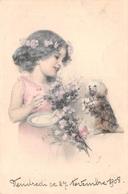Fille Avec Son Chien - 1908 Wien Vienne Viennoise - Enfants