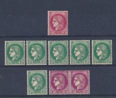 FRANCE - LOT DE 9 TIMBRES NEUFS** SANS CHARNIERE - COTE YT : 23€90 - 1938/41 - Unused Stamps