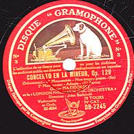 78 Trs 30 Cm état TB 2 Disques - CONCERTO EN LA MINEUR Op. 129 (Schumann) 1er,2e,3e Mouvements Gregor PIATIGORSKY - 78 T - Disques Pour Gramophone