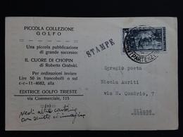 TRIESTE A - Cartolina Stampe Viaggiata + Spese Postali - Storia Postale