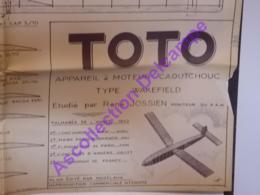 Plan Aeromodelisme Maquette Avion Planeur Le Toto Moteur Caoutchouc Wakefield 1952 PAM Modèlavia - Aviones