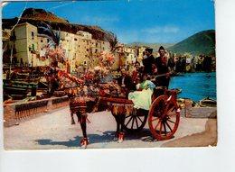 U3978 Cartolina Con Carretto Siciliano (cefalù, Palermo) + Falk Falklore Costume Charrette Cart _ 6667 Ed V.R. Tecnograf - Costumes