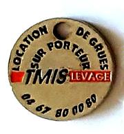 Jeton De Caddie  Argenté  Ville,  TMIS  LEVAGE  Chaudronnerie   Industrielle  à  Frontignan ( 34 )   Recto  Verso - Jetons De Caddies