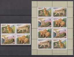 Tajikistan 09.04.2002 Mi # 208-11 Viererblock & Kleinbogen, Nature Protction, Jungle Cat, MNH OG - Tadjikistan