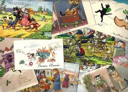 Lot 1548 De 10 CPA Fantaisies Chats Chat Cat Déstockage Pour Revendeurs Ou Collectionneurs - Cartes Postales