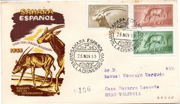 Sobre De Primer Dia Con Serie Nº 123/5 Sahara Circulada - Sahara Español
