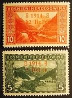 Bosnie-Herzegovine Y&T 85 - 86 Surcharge 1914  . Neufs Sur Charnières - Bosnie-Herzegovine