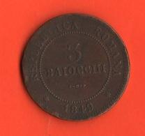 Bologna 3 Baiocchi 1849  Papal State Stato Pontificio II° Repubblica Romana - Rare - Vatican