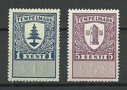 ESTLAND Estonia Estonie Documentary Revenue Tax Stempelmarken 1 & 5 S. MNH - Estonie