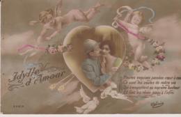 MILITARIA - PATRIOTIQUE -  Des Anges Surveillent Une Ydille D'Amour - Patriotic