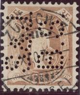 """CH Stehende Helvetia 1907-11-14 ZürichZu#100B Mit Perfin """"S.&J./B.S."""" #087 Bloch Söhne&Co: - 1882-1906 Wappen, Stehende Helvetia & UPU"""