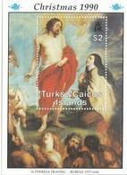 TURKS AND CAICOS Block 94,unused,Christmas 1990 - Turks And Caicos