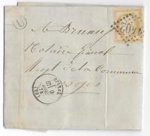 1874 - VOSGES - LETTRE De AGEMONT Avec BOITE RURALE U + DATEUR EPINAL => EPINAL - Marcophilie (Lettres)