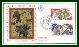 Monaco FDC Silk Soie Yv. N° 1342 1343 Croix Rouge 1982 12  Travaux D' Hercule Sanglier Oiseau - Red Cross