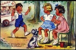 CARTE ILLUSTRÉE PAR GERMAINE BOURET MD PARIS JE LES AI MANGEES POUR PAS QU'ELLES FONDENT !... - Bouret, Germaine