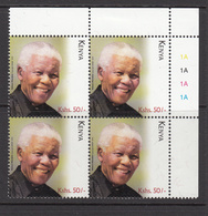 2018 Kenya Mandela NEW ISSUE Nobel  Complete UR Block Of 4 MNH - Kenia (1963-...)