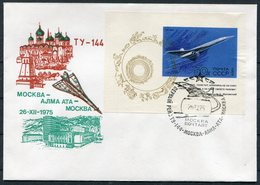 1975 Russia Mongolia TY144 Flight Moscow - Alma Ata Souvenir Sheet Cover - Airplanes