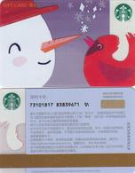 2018 China Starbucks Coffee Christmas Snowman Gift Cards RMB100 - China