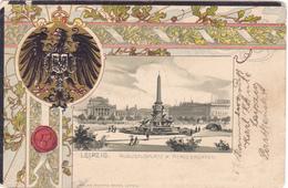 716/ Leipzig, Augustusplatz M. Mendebrunnen, Litho, Wapen, 1901 - Leipzig