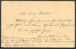 1897 Egypt Stationery Postcard Port Said - Hochstein, Herrnhut, Sachsen, Germany. French Paquebot Ligne N PAQ. FR. No1 - Egypt