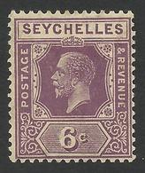 Seychelles, 6 C, 1922, Scott # 98, MH. - Seychelles (...-1976)