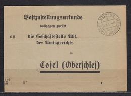 Oberschlesien/Dt.Reich Postzustellungsurkunde Mechnitz über Krappitz(Oberschlesien) 25.8.37 An Amtsgericht Cosel - Allemagne