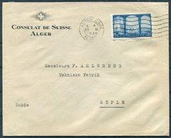 1930 Algeria Consulat De Suisse Alger Gare Cover - Gefle Sweden. Swiss Diplomatic Consulate - Algeria (1924-1962)