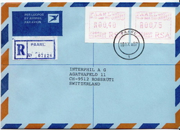 Postal History Cover: RSA R Cover With Automat Stamp - Frama Labels