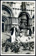 Venezia, Venedig, Piazza S. Marco (Piccioni), 11.8.1924, Elegantes Ehepaar Füttert Tauben - Venezia (Venice)