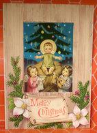 Merry Christmas Auguri Gesù Angeli Cartolina Nuova - Christmas