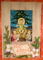 Merry Christmas Auguri Gesù Angeli Cartolina Nuova - Natale