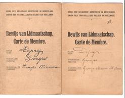 JS674/ Guerre-Oorlog 14-18 Cartes De Membre Travailleurs Belges En Hollande Groupe Minerva Georges Depry - Other Covers