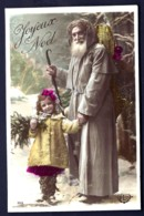 CPA-PHOTO ANCIENNE FRANCE- PERE NOËL AVEC FILLETTE VERS 1900- ROBE GRISE !- TRES GROS PLAN - Santa Claus