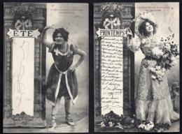 RARE SÉRIE COMPLETE 4 CPA FRANCE- PARISIENNE A TRAVERS LES SAISONS EN 1900- JEUNES FEMMES EN TENUE ADAPTÉE- 2 SCANS - Frauen