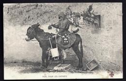CPA PRECURSEUR FRANCE- PERE NOËL EN 1900 MONTÉ SUR UN ÂNE  ET PORTANT SAPIN ET JOUETS- TRES GROS PLAN - Weihnachten