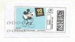 MON TIMBRE  EN LIGNE  90ANS DE MICKEY OBLITERE SUR FRAGMENT - Disney
