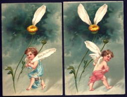 RARE SÉRIE COMPLETE 5 CPA GAUFRÉES FRANCE 1900- ILLUSTRATION ANGELOTS DIVERS EFFEUILLANT LA MARGUERITE- 3 SCANS - Phantasie
