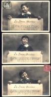 LOT 3 CPA-PHOTO ANCIENNES FRANCE- LA BONNE AVENTURE EN MUSIQUE- GARCONNET AVEC PARTITION- GROS PLAN - Musik