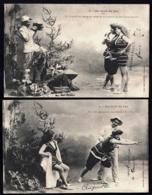LOT 2 CPA ANCIENNES FRANCE- 2 FEMMES EN COSTUME DE BAIN AU BORD DU LAC AVEC PHOTOGRAPHE- GROS PLAN - Trachten