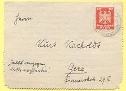 Deutsches Reich - 1924 - 10 - Kartenbrief - Viaggiata Da ???? Per Gera - Deutschland