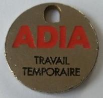 Jeton De Caddie - ADIA - Travail Temporaire - En Métal - - Jetons De Caddies