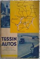 Dépliant Publicitaire TESSIN AUTOS - COURSE AUTOMOBILE AU LAC MAJEUR LUGANO ALPES - Voiture Moto Illustrateur Plan Carte - Voitures