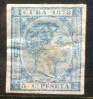 CUBA - 1878 Imperf Mint Hinged 5c Blue - Cuba (1874-1898)