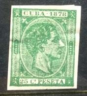 CUBA - 1878 Imperf Mint Hinged 25c Green - Cuba (1874-1898)