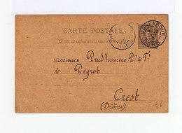 Carte Postale Entier Postal Type Sage Oblitéré CAD Dunkerque 1890. CAD Crest. (912) - Entiers Postaux